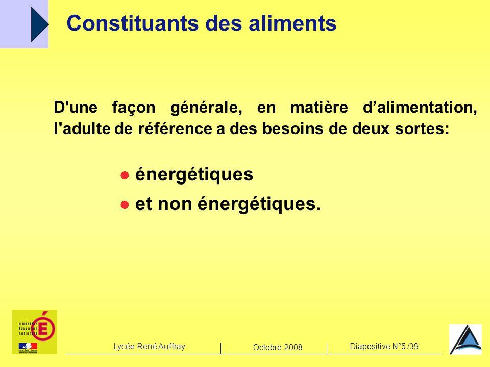 Lycée René AuffrayDiapositive N°5 /39 Octobre 2008 D'une façon générale, en matière dalimentation, l'adulte de référence a des besoins de deux sortes: