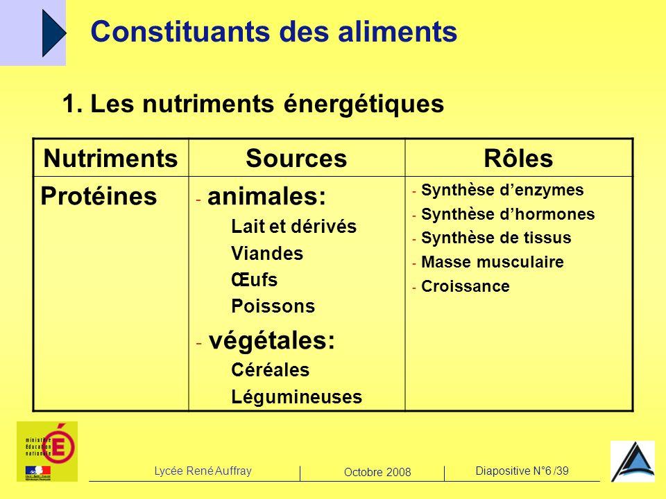 Lycée René AuffrayDiapositive N°6 /39 Octobre 2008 1. Les nutriments énergétiques Constituants des aliments NutrimentsSourcesRôles Protéines - animale