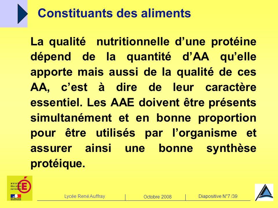 Lycée René AuffrayDiapositive N°7 /39 Octobre 2008 La qualité nutritionnelle dune protéine dépend de la quantité dAA quelle apporte mais aussi de la q