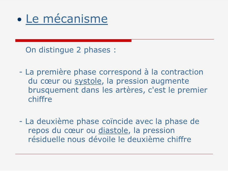 Le mécanisme On distingue 2 phases : - La première phase correspond à la contraction du cœur ou systole, la pression augmente brusquement dans les artères, c est le premier chiffre - La deuxième phase coïncide avec la phase de repos du cœur ou diastole, la pression résiduelle nous dévoile le deuxième chiffre