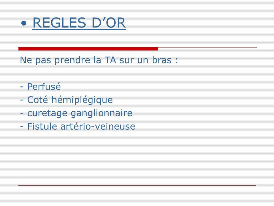 REGLES DOR Ne pas prendre la TA sur un bras : - Perfusé - Coté hémiplégique - curetage ganglionnaire - Fistule artério-veineuse