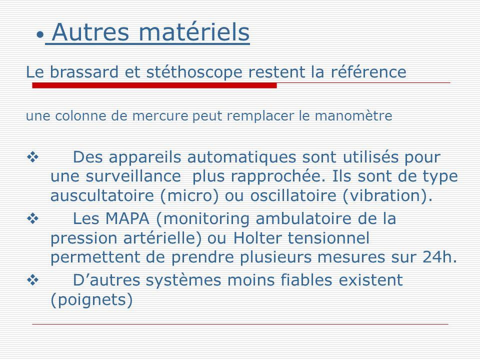 Autres matériels Le brassard et stéthoscope restent la référence une colonne de mercure peut remplacer le manomètre Des appareils automatiques sont utilisés pour une surveillance plus rapprochée.