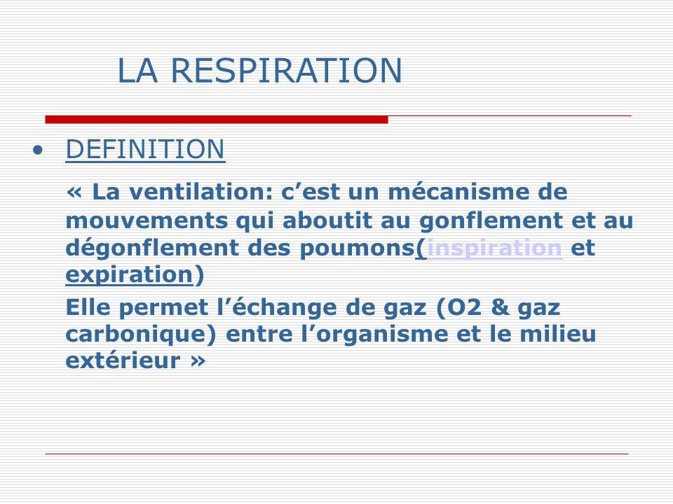 LA RESPIRATION DEFINITION « La ventilation: cest un mécanisme de mouvements qui aboutit au gonflement et au dégonflement des poumons(inspiration et expiration) inspiration Elle permet léchange de gaz (O2 & gaz carbonique) entre lorganisme et le milieu extérieur »