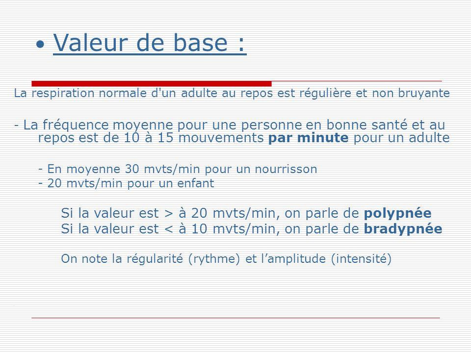 Valeur de base : La respiration normale d un adulte au repos est régulière et non bruyante - La fréquence moyenne pour une personne en bonne santé et au repos est de 10 à 15 mouvements par minute pour un adulte - En moyenne 30 mvts/min pour un nourrisson - 20 mvts/min pour un enfant Si la valeur est > à 20 mvts/min, on parle de polypnée Si la valeur est < à 10 mvts/min, on parle de bradypnée On note la régularité (rythme) et lamplitude (intensité).