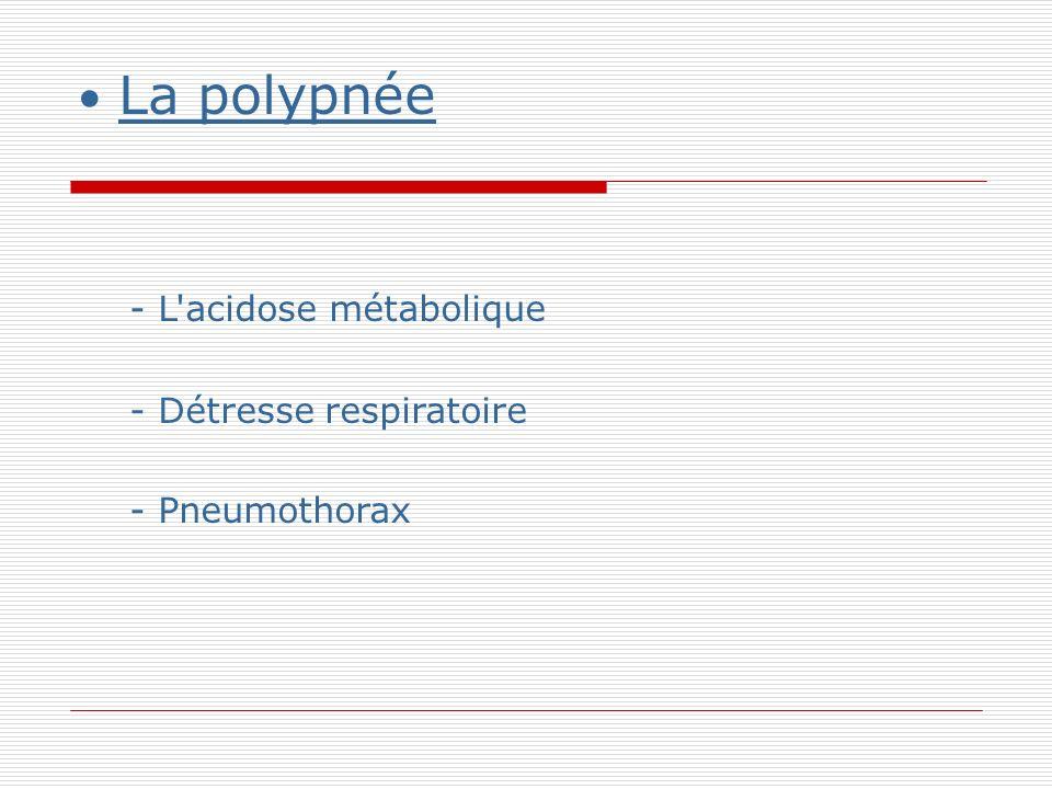 La polypnée - L acidose métabolique - Détresse respiratoire - Pneumothorax