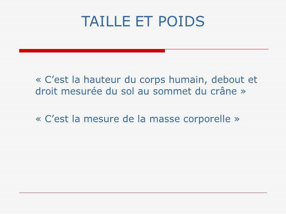 TAILLE ET POIDS « Cest la hauteur du corps humain, debout et droit mesurée du sol au sommet du crâne » « Cest la mesure de la masse corporelle »