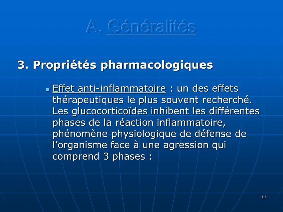 11 3. Propriétés pharmacologiques Effet anti-inflammatoire : un des effets thérapeutiques le plus souvent recherché. Les glucocorticoïdes inhibent les