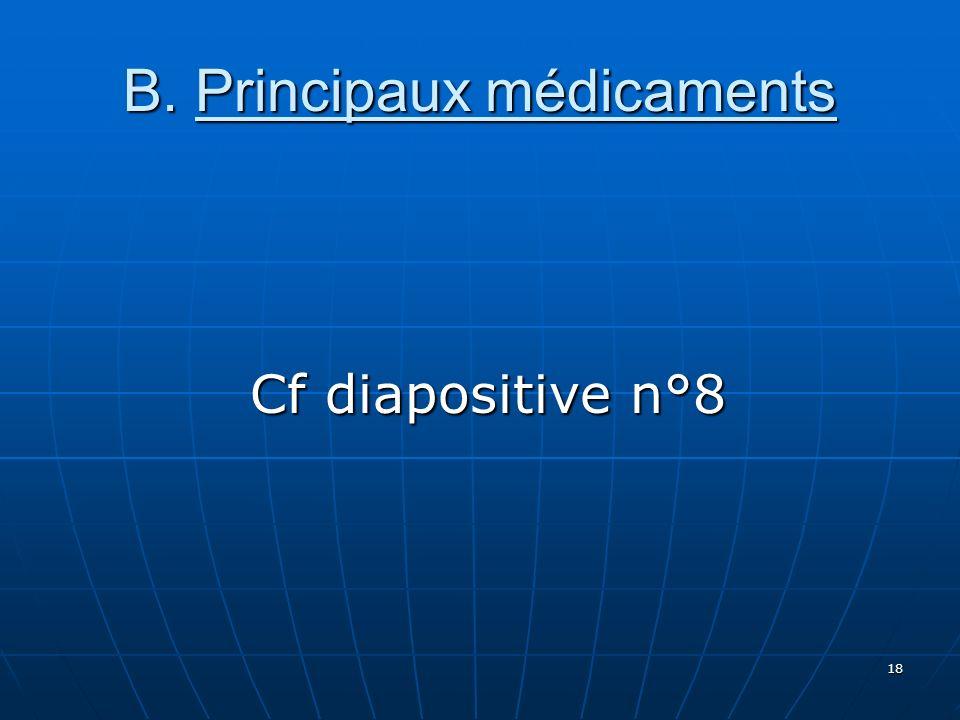 18 B. Principaux médicaments Cf diapositive n°8