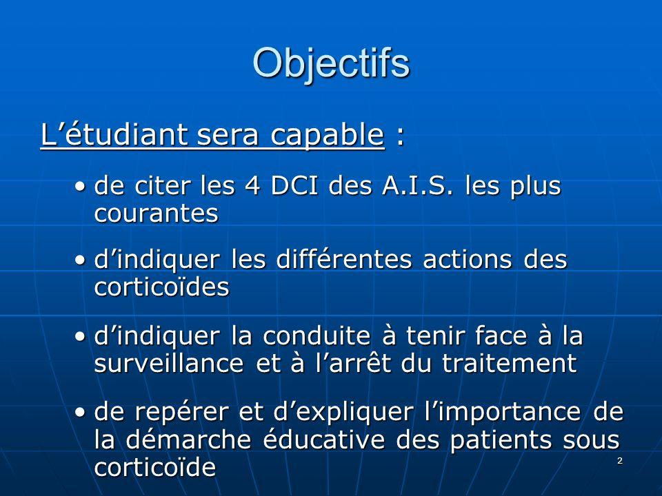 2 Objectifs Létudiant sera capable : de citer les 4 DCI des A.I.S. les plus courantesde citer les 4 DCI des A.I.S. les plus courantes dindiquer les di