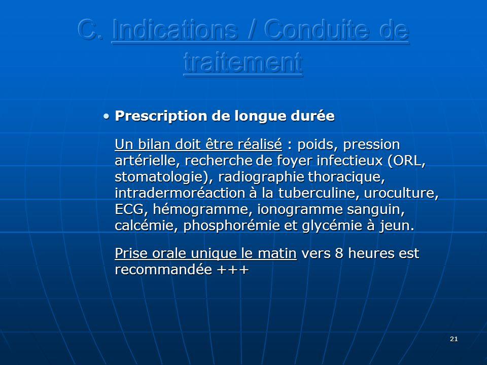 21 Prescription de longue duréePrescription de longue durée Un bilan doit être réalisé : poids, pression artérielle, recherche de foyer infectieux (OR