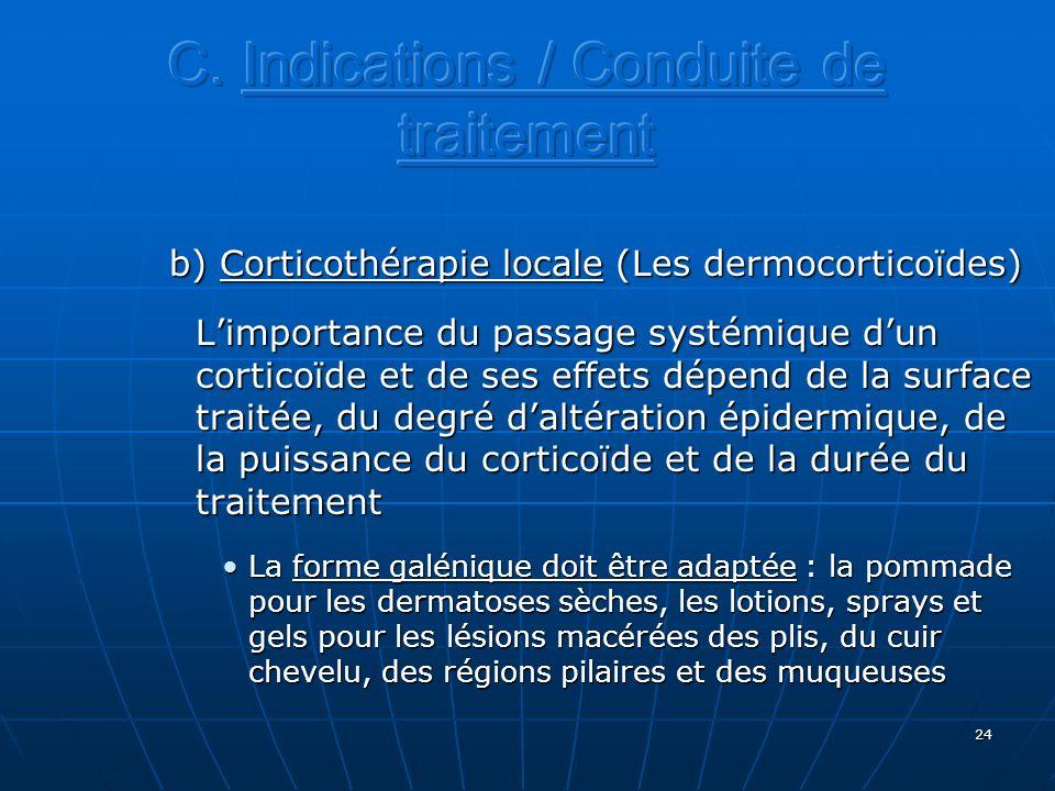 24 b) Corticothérapie locale (Les dermocorticoïdes) Limportance du passage systémique dun corticoïde et de ses effets dépend de la surface traitée, du