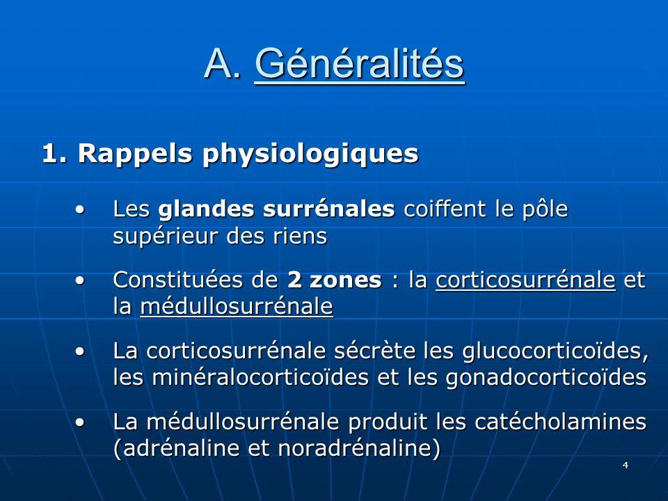4 A. Généralités 1. Rappels physiologiques Les glandes surrénales coiffent le pôle supérieur des riensLes glandes surrénales coiffent le pôle supérieu