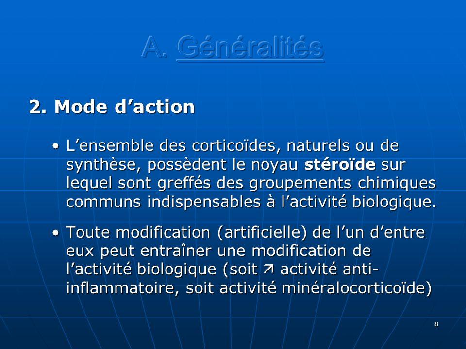 8 2. Mode daction Lensemble des corticoïdes, naturels ou de synthèse, possèdent le noyau stéroïde sur lequel sont greffés des groupements chimiques co