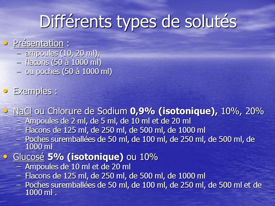 Différents types de solutés Présentation : Présentation : –ampoules (10, 20 ml), –flacons (50 à 1000 ml) –ou poches (50 à 1000 ml) Exemples : Exemples