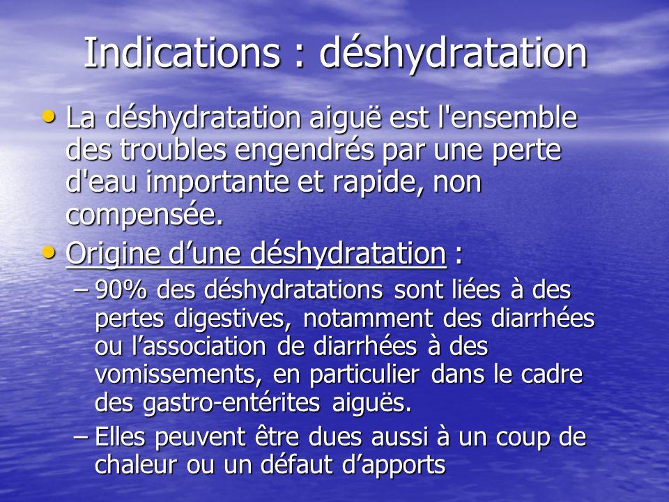 Indications : déshydratation La déshydratation aiguë est l'ensemble des troubles engendrés par une perte d'eau importante et rapide, non compensée. La