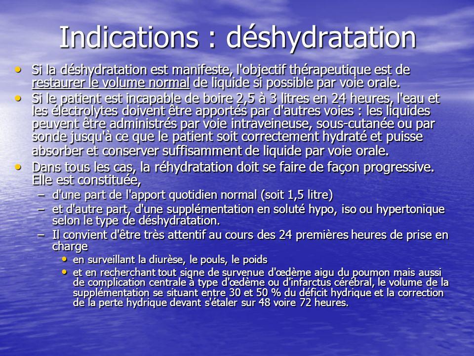 Indications : déshydratation Si la déshydratation est manifeste, l'objectif thérapeutique est de restaurer le volume normal de liquide si possible par