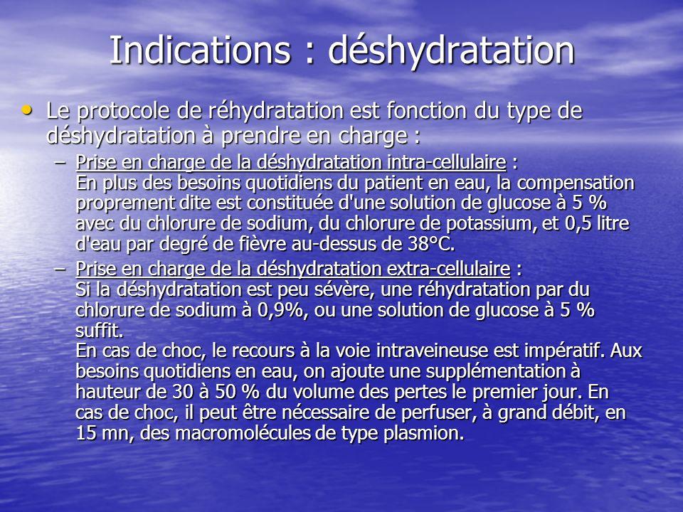 Indications : déshydratation Le protocole de réhydratation est fonction du type de déshydratation à prendre en charge : Le protocole de réhydratation