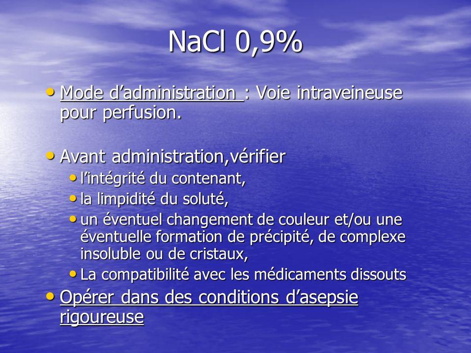 NaCl 0,9% Mode dadministration : Voie intraveineuse pour perfusion. Mode dadministration : Voie intraveineuse pour perfusion. Avant administration,vér