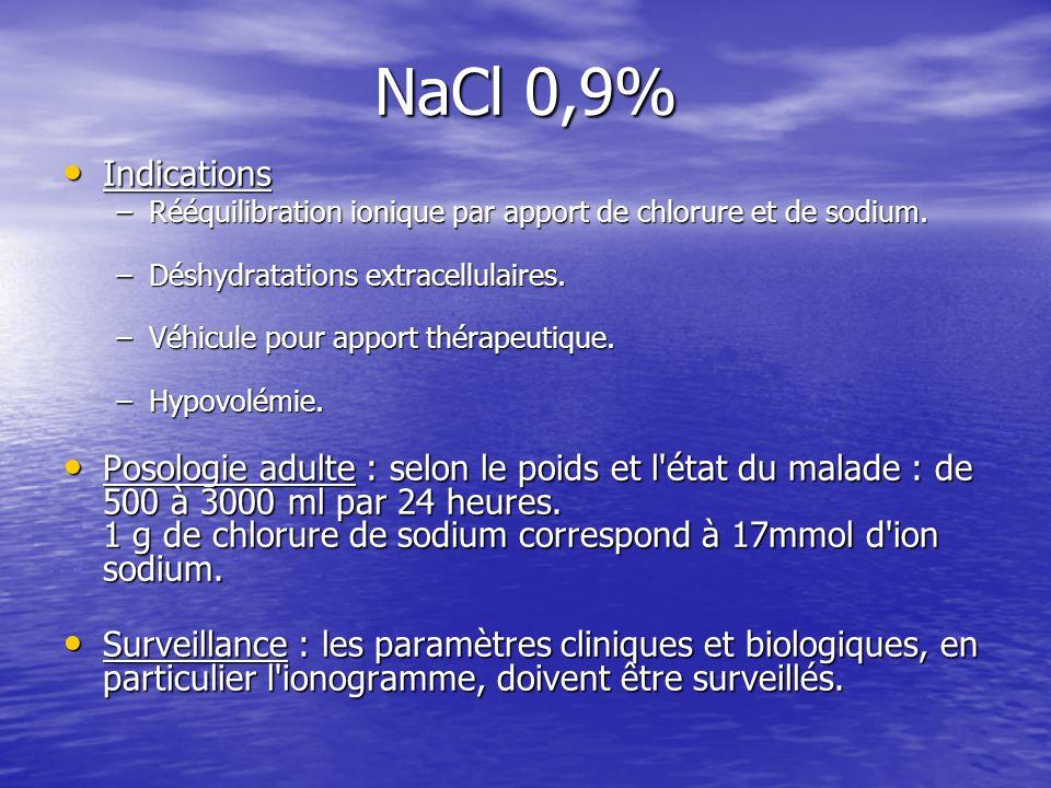 NaCl 0,9% Indications Indications –Rééquilibration ionique par apport de chlorure et de sodium. –Déshydratations extracellulaires. –Véhicule pour appo