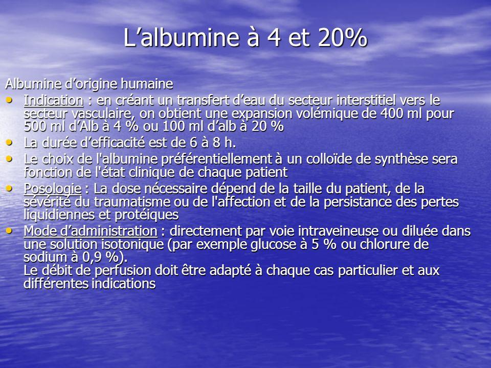 Lalbumine à 4 et 20% Albumine dorigine humaine Indication : en créant un transfert deau du secteur interstitiel vers le secteur vasculaire, on obtient