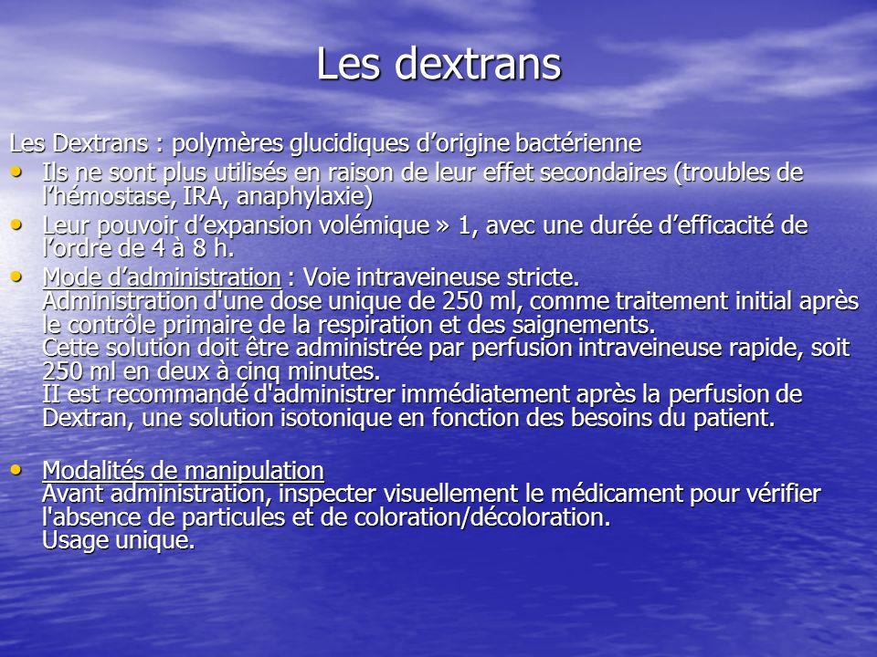 Les dextrans Les Dextrans : polymères glucidiques dorigine bactérienne Ils ne sont plus utilisés en raison de leur effet secondaires (troubles de lhém