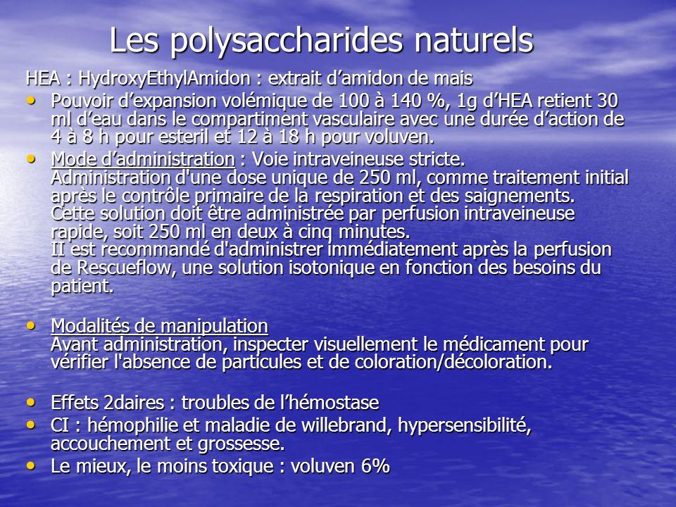 Les polysaccharides naturels HEA : HydroxyEthylAmidon : extrait damidon de mais Pouvoir dexpansion volémique de 100 à 140 %, 1g dHEA retient 30 ml dea