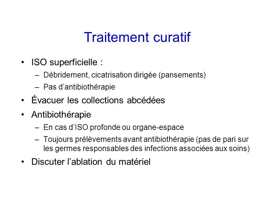 Traitement curatif ISO superficielle : –Débridement, cicatrisation dirigée (pansements) –Pas dantibiothérapie Évacuer les collections abcédées Antibio