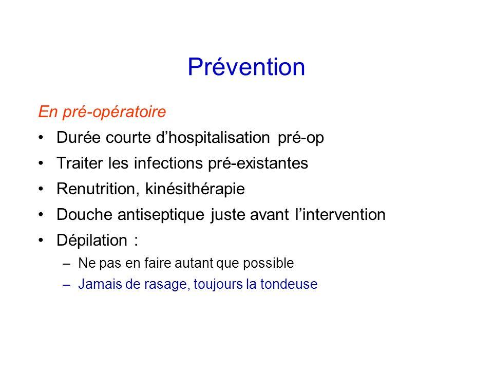 Prévention En pré-opératoire Durée courte dhospitalisation pré-op Traiter les infections pré-existantes Renutrition, kinésithérapie Douche antiseptiqu