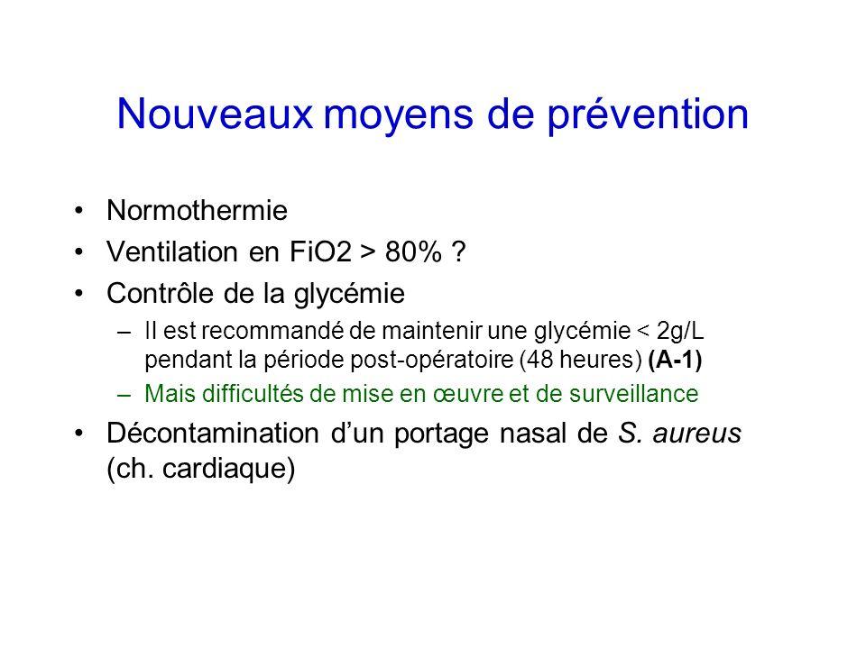Nouveaux moyens de prévention Normothermie Ventilation en FiO2 > 80% ? Contrôle de la glycémie –Il est recommandé de maintenir une glycémie < 2g/L pen