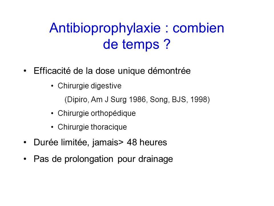 Antibioprophylaxie : combien de temps ? Efficacité de la dose unique démontrée Chirurgie digestive (Dipiro, Am J Surg 1986, Song, BJS, 1998) Chirurgie
