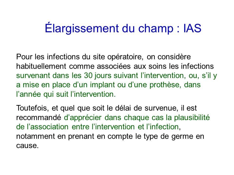 Élargissement du champ : IAS Pour les infections du site opératoire, on considère habituellement comme associées aux soins les infections survenant da