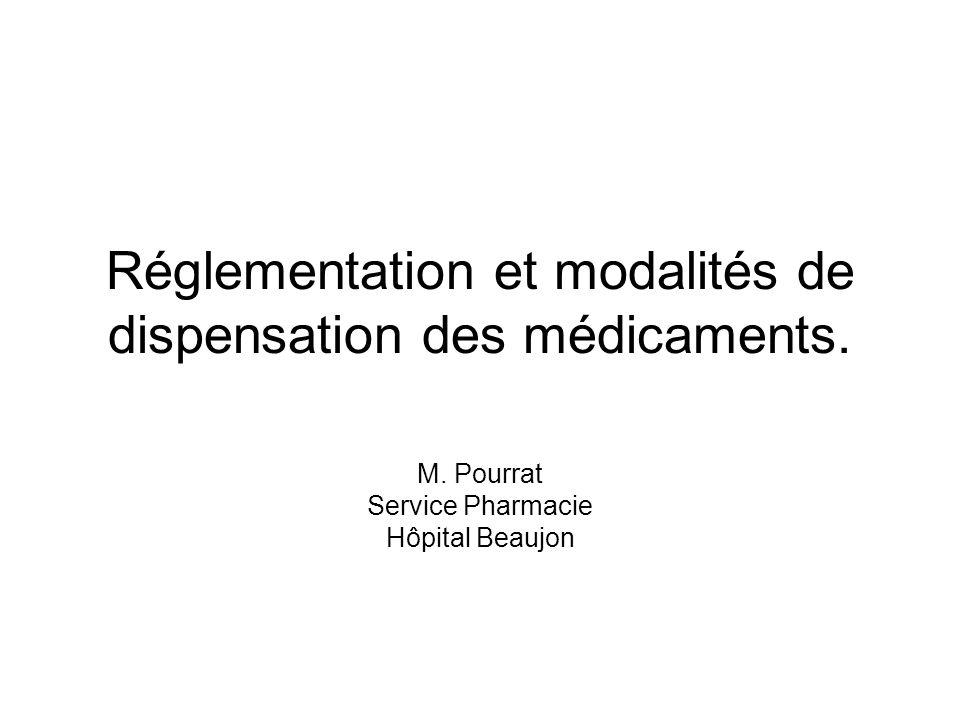 Réglementation et modalités de dispensation des médicaments. M. Pourrat Service Pharmacie Hôpital Beaujon