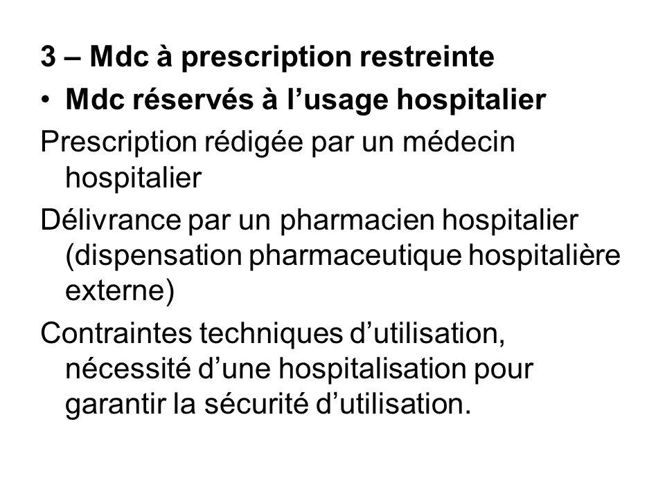3 – Mdc à prescription restreinte Mdc réservés à lusage hospitalier Prescription rédigée par un médecin hospitalier Délivrance par un pharmacien hospi