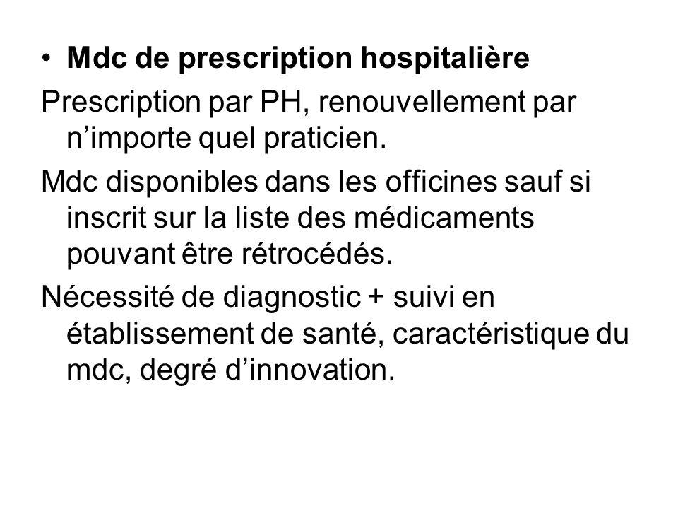 Mdc de prescription hospitalière Prescription par PH, renouvellement par nimporte quel praticien. Mdc disponibles dans les officines sauf si inscrit s