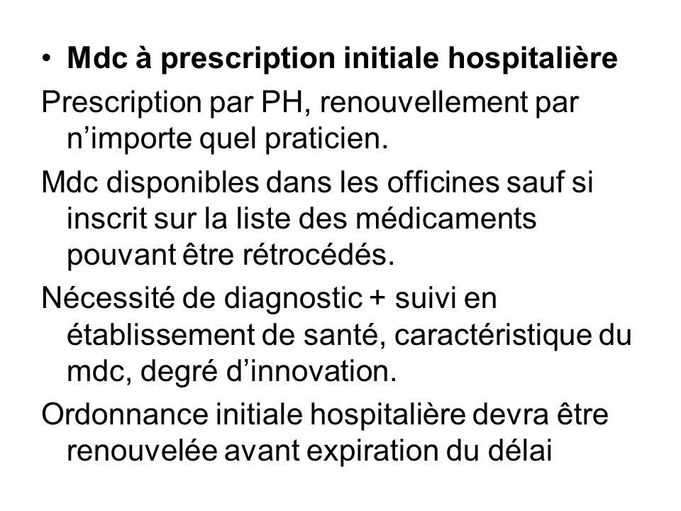 Mdc à prescription initiale hospitalière Prescription par PH, renouvellement par nimporte quel praticien. Mdc disponibles dans les officines sauf si i