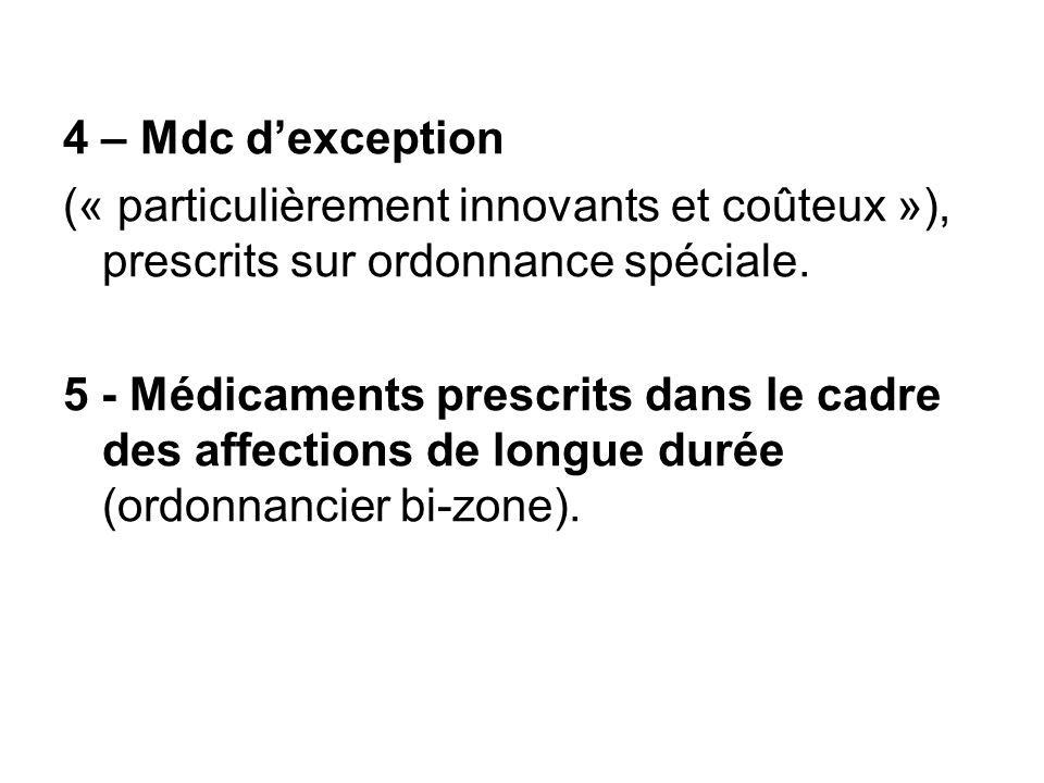 4 – Mdc dexception (« particulièrement innovants et coûteux »), prescrits sur ordonnance spéciale. 5 - Médicaments prescrits dans le cadre des affecti