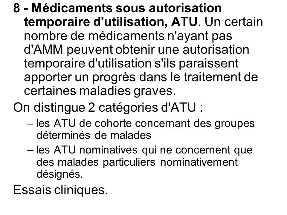 8 - Médicaments sous autorisation temporaire d'utilisation, ATU. Un certain nombre de médicaments n'ayant pas d'AMM peuvent obtenir une autorisation t