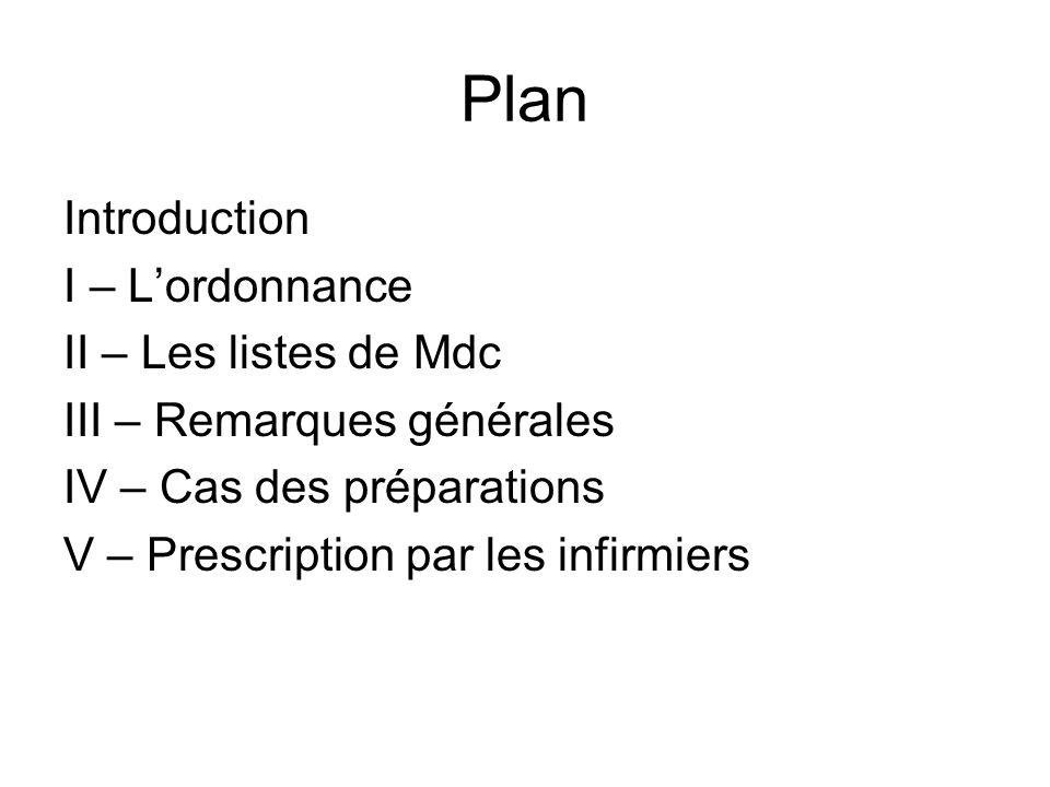I – Lordonnance Document permettant au malade de connaître son traitement et au pharmacien de le lui délivrer.