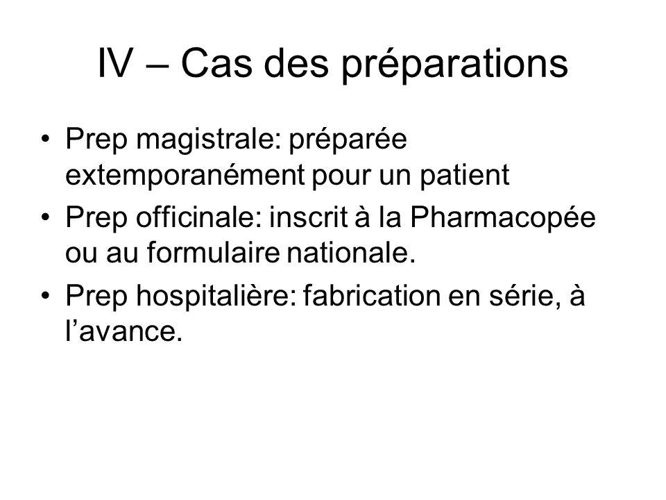 IV – Cas des préparations Prep magistrale: préparée extemporanément pour un patient Prep officinale: inscrit à la Pharmacopée ou au formulaire nationa