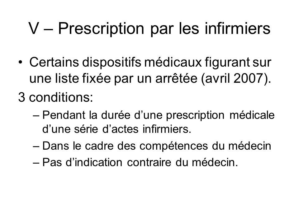 V – Prescription par les infirmiers Certains dispositifs médicaux figurant sur une liste fixée par un arrêtée (avril 2007). 3 conditions: –Pendant la