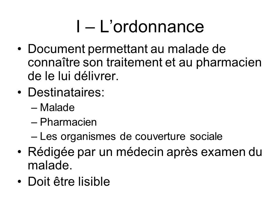 I – Lordonnance Document permettant au malade de connaître son traitement et au pharmacien de le lui délivrer. Destinataires: –Malade –Pharmacien –Les