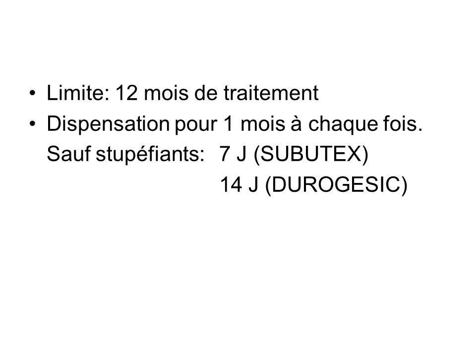 Limite: 12 mois de traitement Dispensation pour 1 mois à chaque fois. Sauf stupéfiants: 7 J (SUBUTEX) 14 J (DUROGESIC)
