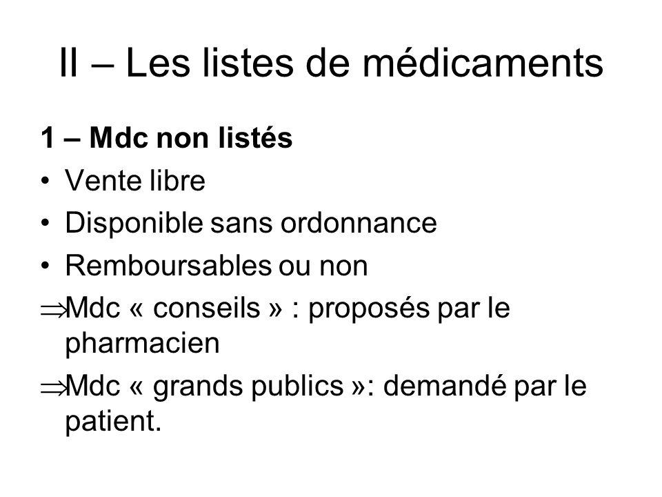 II – Les listes de médicaments 1 – Mdc non listés Vente libre Disponible sans ordonnance Remboursables ou non Mdc « conseils » : proposés par le pharm