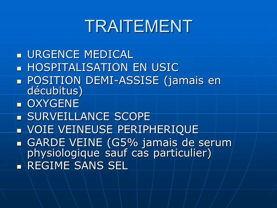 TRAITEMENT URGENCE MEDICAL URGENCE MEDICAL HOSPITALISATION EN USIC HOSPITALISATION EN USIC POSITION DEMI-ASSISE (jamais en décubitus) POSITION DEMI-ASSISE (jamais en décubitus) OXYGENE OXYGENE SURVEILLANCE SCOPE SURVEILLANCE SCOPE VOIE VEINEUSE PERIPHERIQUE VOIE VEINEUSE PERIPHERIQUE GARDE VEINE (G5% jamais de serum physiologique sauf cas particulier) GARDE VEINE (G5% jamais de serum physiologique sauf cas particulier) REGIME SANS SEL REGIME SANS SEL