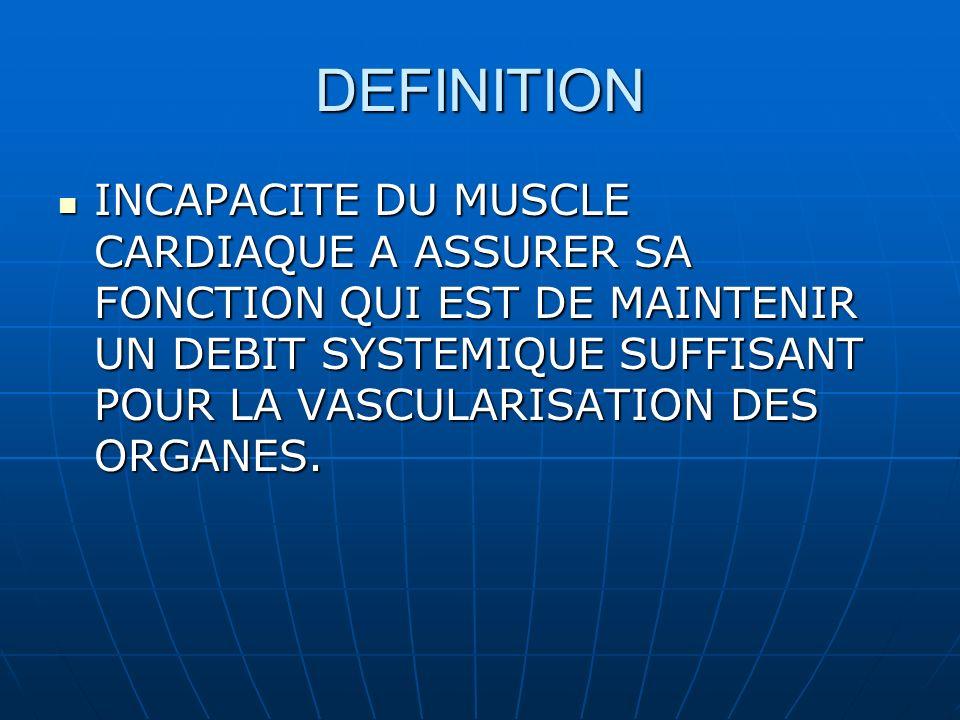 DEFINITION INCAPACITE DU MUSCLE CARDIAQUE A ASSURER SA FONCTION QUI EST DE MAINTENIR UN DEBIT SYSTEMIQUE SUFFISANT POUR LA VASCULARISATION DES ORGANES.