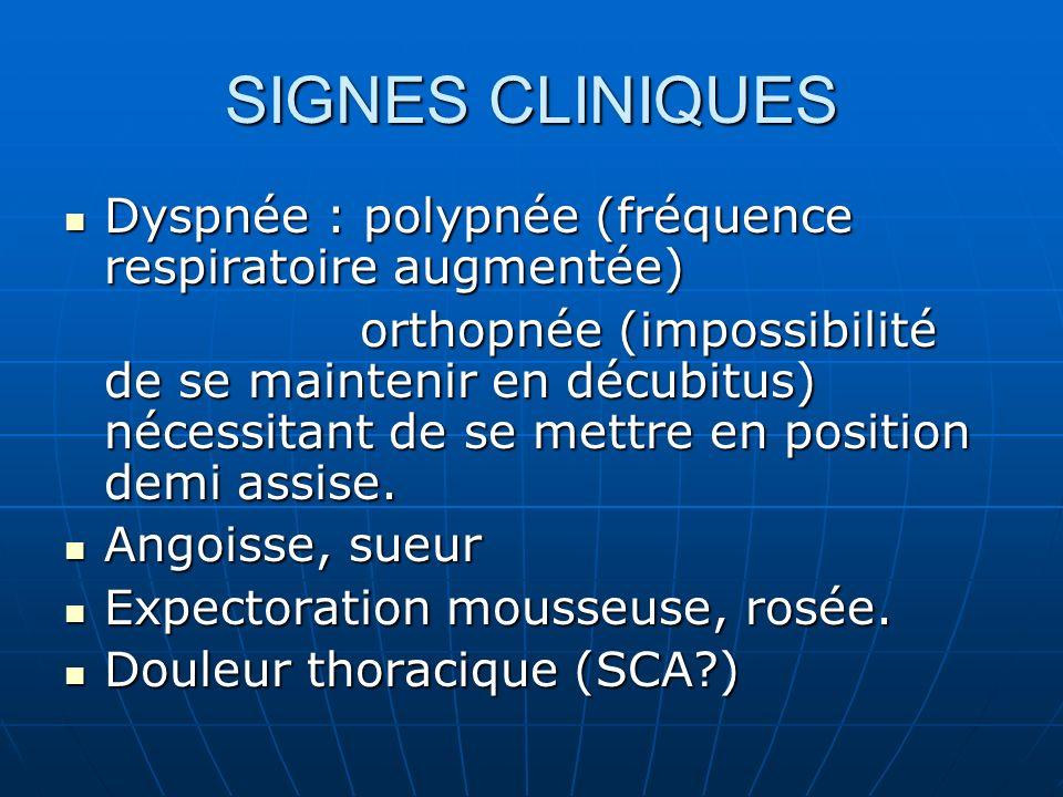EXAMEN CLINIQUE CYANOSE CYANOSE SIGNES DE LUTTE (tirage intercostal, sus claviculaire,respiration abdominale) SIGNES DE LUTTE (tirage intercostal, sus claviculaire,respiration abdominale) CREPITANS BILATERAUX à lauscultation pulmonaire CREPITANS BILATERAUX à lauscultation pulmonaire TACHYCARDIE TACHYCARDIE