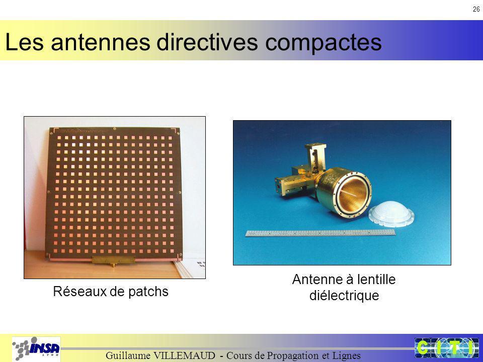 Guillaume VILLEMAUD - Cours de Propagation et Lignes Antenne à lentille diélectrique Réseaux de patchs Les antennes directives compactes 26