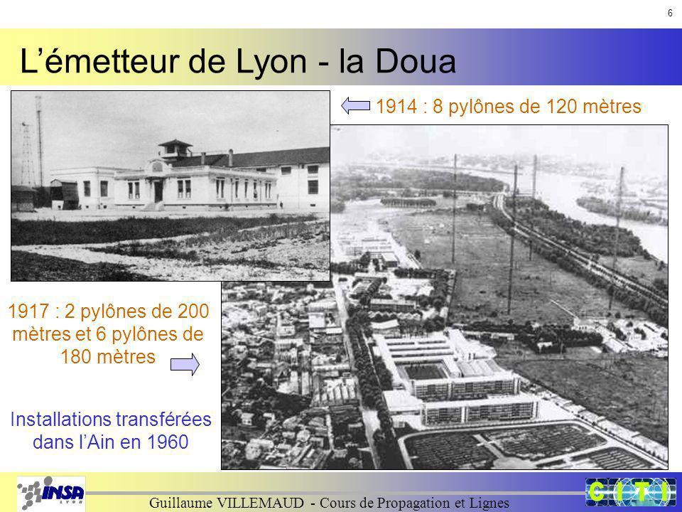Guillaume VILLEMAUD - Cours de Propagation et Lignes Lémetteur de Lyon - la Doua 1914 : 8 pylônes de 120 mètres 1917 : 2 pylônes de 200 mètres et 6 py