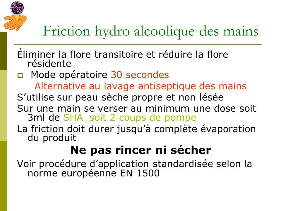 Friction hydro alcoolique des mains Éliminer la flore transitoire et réduire la flore résidente Mode opératoire 30 secondes Alternative au lavage anti