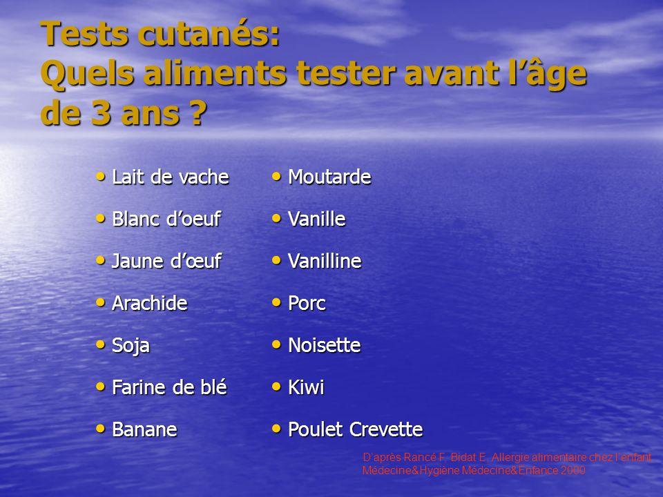 Tests cutanés: Quels aliments tester avant lâge de 3 ans ? Daprès Rancé F, Bidat E, Allergie alimentaire chez lenfant. Médecine&Hygiène Médecine&Enfan